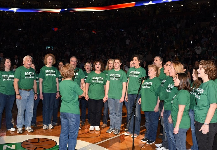 Singing the national anthem at the Garden