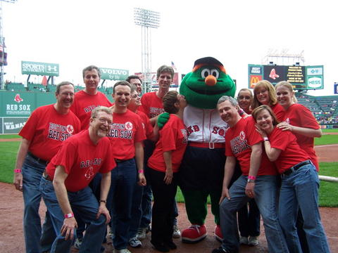 On the field at Fenway with Wally
